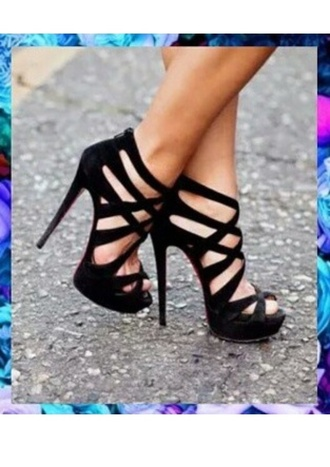 shoes black high heels black high heels chic style high heels stripes velvet fashion