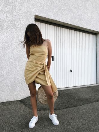 dress tumblr wrap dress mini dress yellow yellow dress white sneakers sneakers summer dress shoes