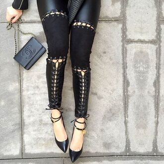 leggings maniere de voir leather suede lace up tie up panelled panel pants chanel tom ford