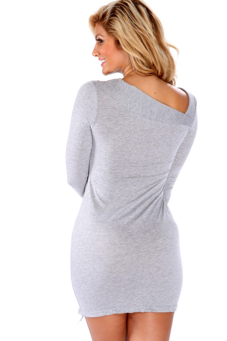 Light Grey Long Sleeves Sexy Sweater Dress