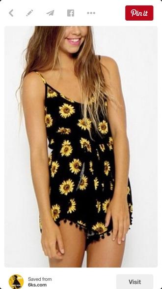 jumpsuit blac yellow sunflower
