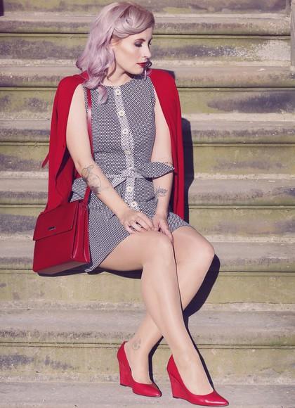 blogger cardigan bag like a riot red bag retro dress red heels