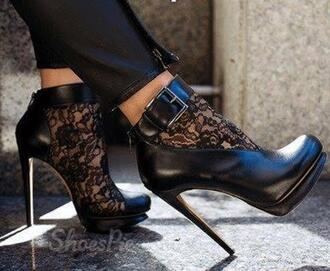 shoes boots lace lace up pumps ankle boots booties fsjshoes black heels heel boots black heels stilettos black stilettos casual sexy fashion classy instagram trendy sexy shoes black lace leather