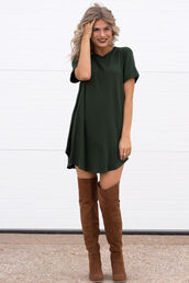 dress,green shirt dress,brown knee high boots,blogger