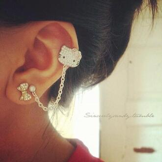 earing jewels pink diamonds bows gold chain pearl hello kitty