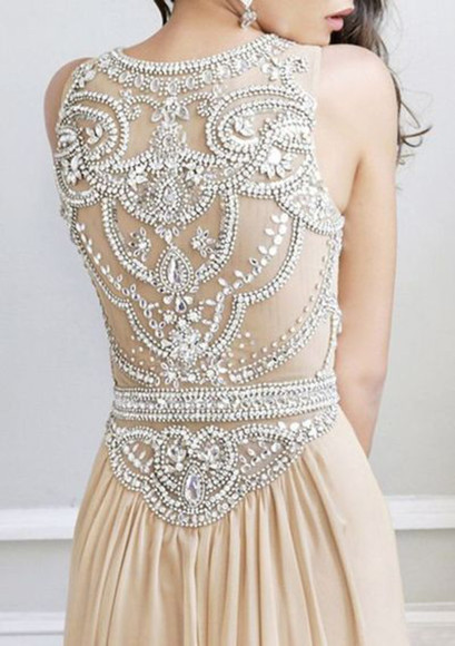 nude dress beautiful dress diamonds prom dress elegant dress embellished dress evening dress