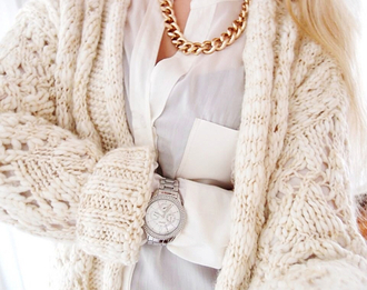 sweater white cozy cardigan knitwear knitted sweater jewels jacket bag cream fall outfits winter outfits gold watch thick blouse knit