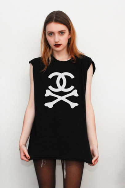chanel black tank top crossbones bones tank top