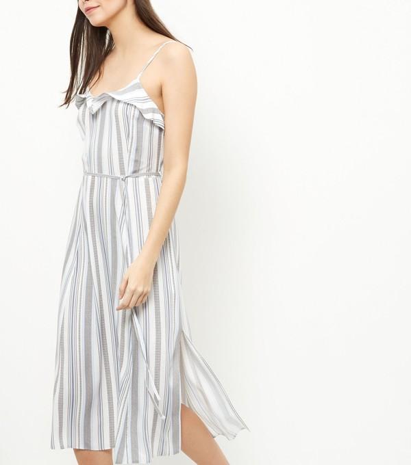 dress striped dress ruffle dress slit dress summer dress