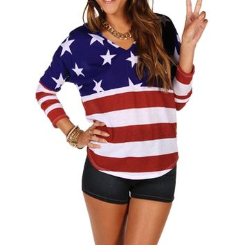 Red/White/Blue American Flag Top on Wanelo