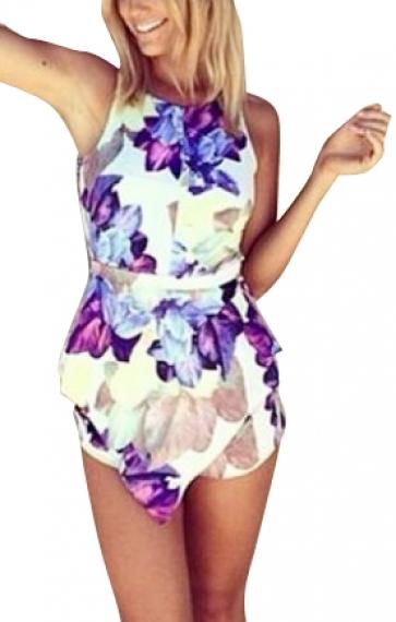 Purple Flowers Printing Irregular Hem O-neck Sleeveless Jumpsuit