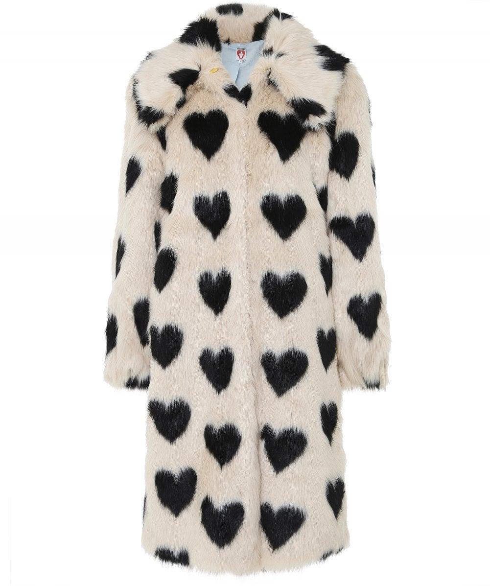 Shrimps Cream Heart Jacquard Faux Fur Coat | Jules B