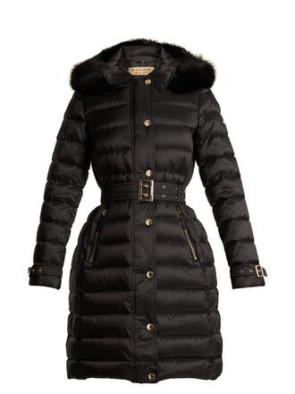 coat fur quilted black