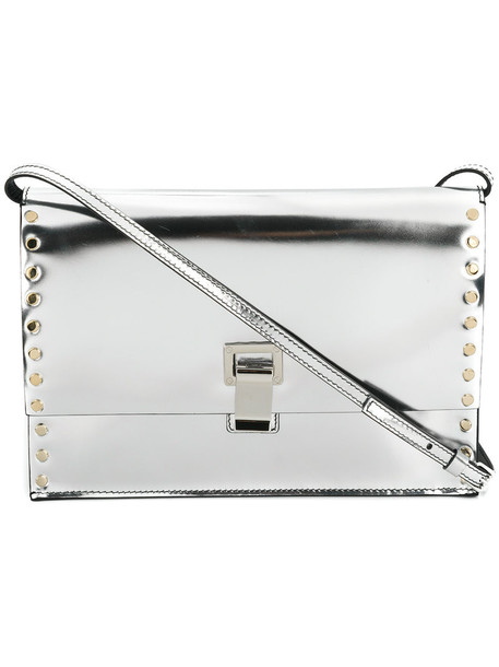 studded women bag crossbody bag leather grey metallic