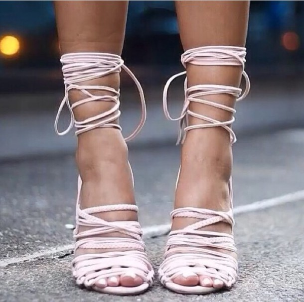 white strappy heels nude rose strappy sandals lace up heels shoes fashion week love shoes high heels strappy heels streetstyle streetstyle selfie baypink pink strappy not monika chiang light pink blush pink lace up heels sandals urban pastel pink shorts heels pink lace up