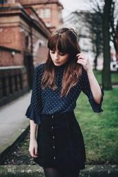 blouse,polka dots,chiffon,navy,vintage,paris,sweet,girly,skirt,white and blue polka dot shirt,black denim skirt,ruffle,blogger