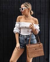 top,tumblr,off the shoulder,off the shoulder top,bag,basket bag,sunglasses,white sunglasses,shorts,denim,denim shorts