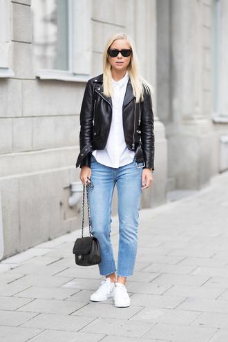 victoria tornegren blogger bag jacket jeans shirt