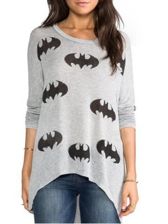 sweater top batman style grey casual loose fall outfits superheroes long sleeves