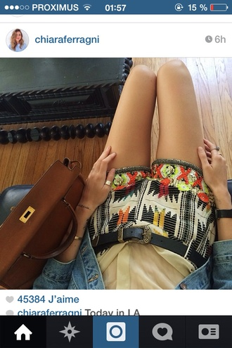 shorts chiaraferragni bag belt jewellary sequins printed shorts ethnic clothes t-shirt shirt shoes dress skirt top jeans jacket denim jacket leather jacket pants tank top cardigan
