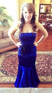dress,dark blue,mermaid prom dress