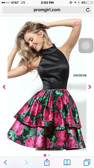 dress floral dress homecoming dress halter top party dress
