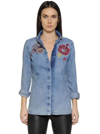shirt denim shirt denim embroidered cotton blue top
