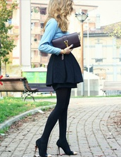 skirt,peplum,black skirt,skater skirt,mini skirt,black,pleated,mini,miniskirt,goldtip,heels,blue shirt,clutch