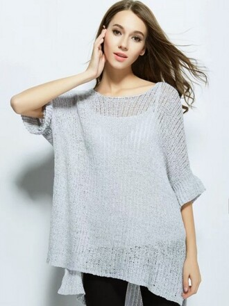 sweater choies gray knit sweater trumpet sleeve side slit dipped hem