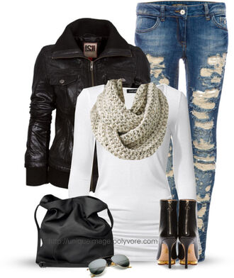 shoes heels boots long sleeves ripped jeans bag scarf jacket black white denim jeans shades coat