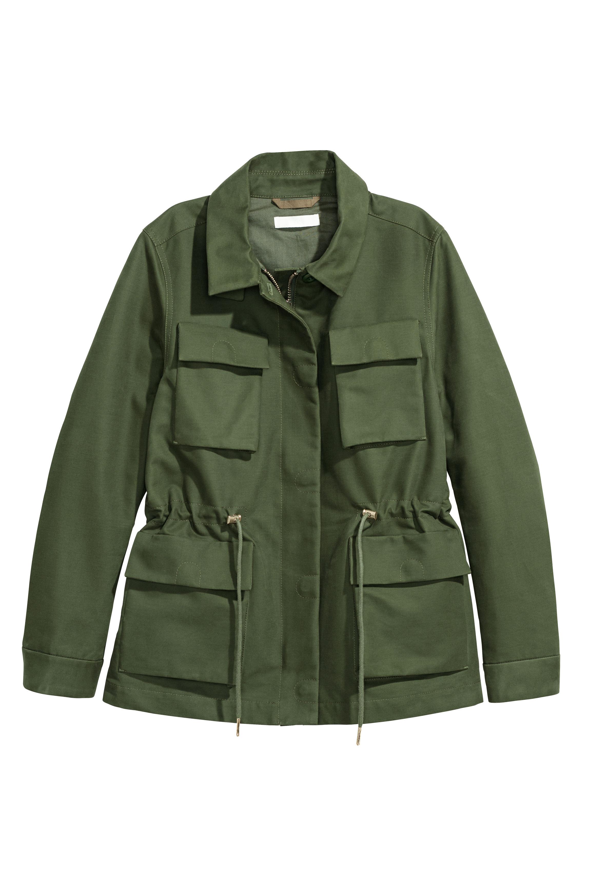 Cotton Cargo Jacket - Green - Ladies   H&M US