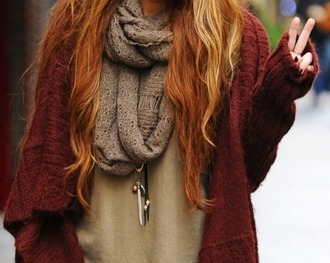 sweater clothes cardigan oversized cardigan oversized sweater scarf knitted scarf fall outfits jewels jacket autumn clothes burgundy sweater oversized knitted cardigan fall colors fall cardigan