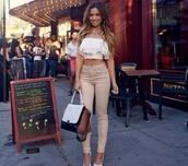 beige,nude,jeans,high waisted,skinny,top,pants
