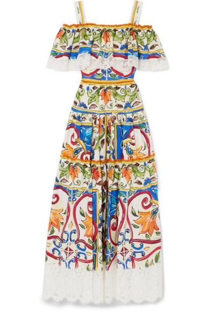 Dolce & Gabbana dress maxi dress maxi lace white cotton
