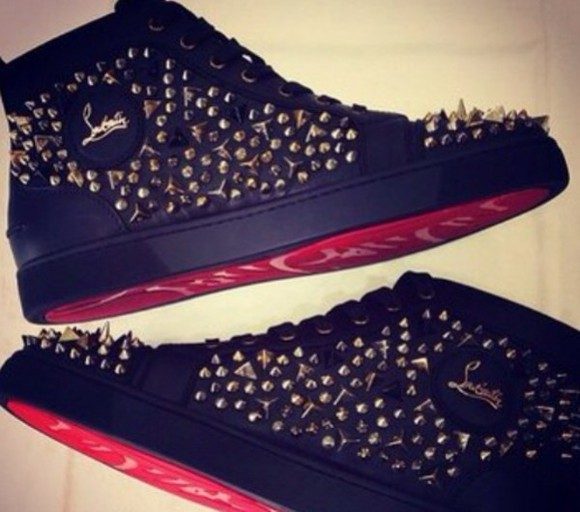 shoes christian louboutin black red studs original