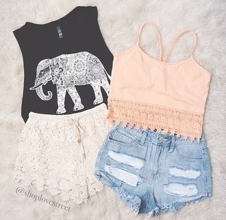 tank top elephant crop tops fringe shorts croche