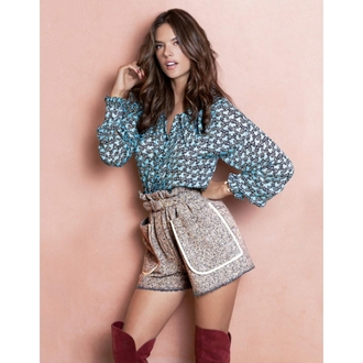 shorts blouse shirt alessandra ambrosio editorial