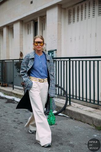 jeans white jeans white pants top blue top coat tartan coat tartan sunglasses bag wide-leg pants trench coat