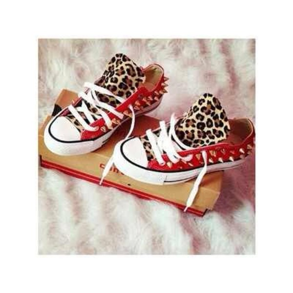 shorts chuck taylor all stars leopard print red studs shoes converse converse red converse lepard