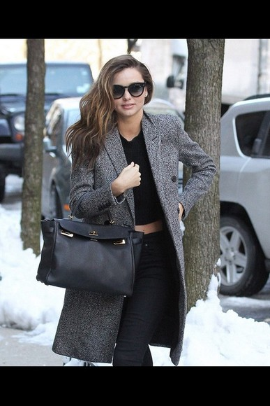 miranda kerr coat black bag coat,