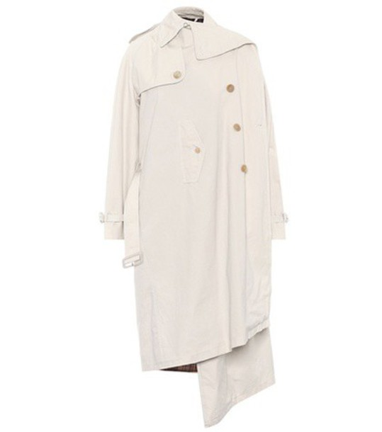 Balenciaga Pulled cotton trench coat in white