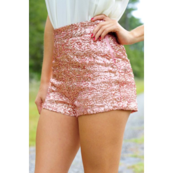 rose gold sequins Sequin shorts shorts