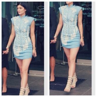 dress baby blue white kendall jenner