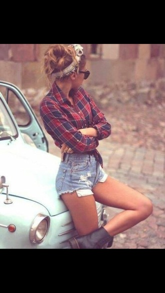shorts squared shirt jean short shorts black sunglasses hair band black high heel boots