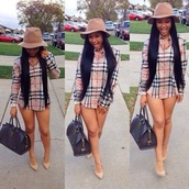 shirt,shoes,hat,india westbrooks,indie,blouse,buttondown,burberry,oversized hat,pointed toe heels,leather bag,dress