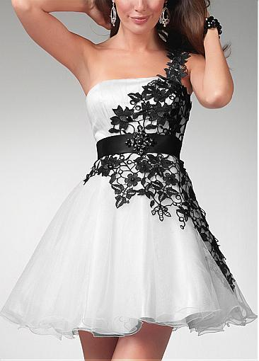 Buy Discount black & white one shoulder A-line Occasion Dresses from  Edreambridal