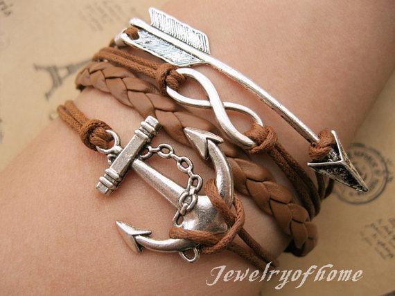 Arrowinfinity&anchor braceletarrow by jewelryofhome on etsy