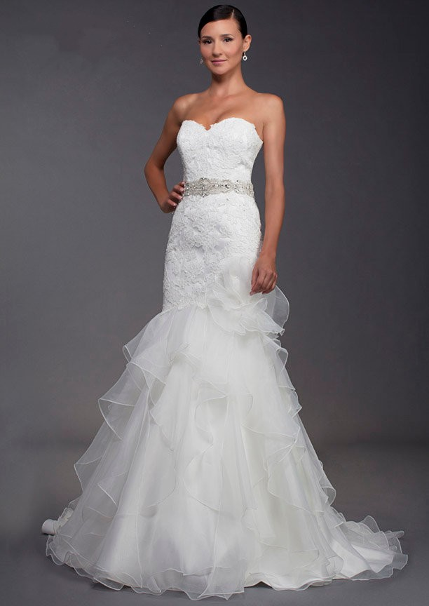 Sweetheart Chapel Train Organza Sleeveless Trumpet Mermaid Wedding Dress Wfc0020