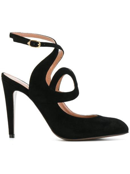women pumps leather suede black shoes