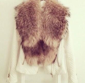 jacket fur white leather furjacket brownfur zara zarajacket